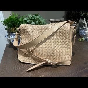 Cole HAAN Natural Woven leather Double strap Flap